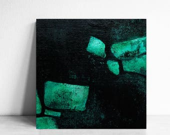 SALE, Small abstract, darknes art, black and green abstract, home decor, emerald green, turquoise and black, modern abstract