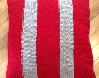 light grey u0026 dark red striped chunky hand knitted largefloor cushion cover