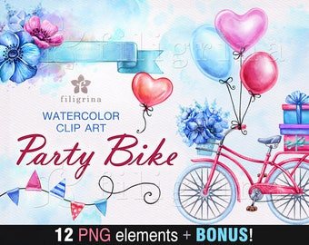 PARTY BIKE watercolor Clip Art. Romantic ride, retro bicycle, balloon, flower, gift. Valentine's day invitation, card making. Read about use