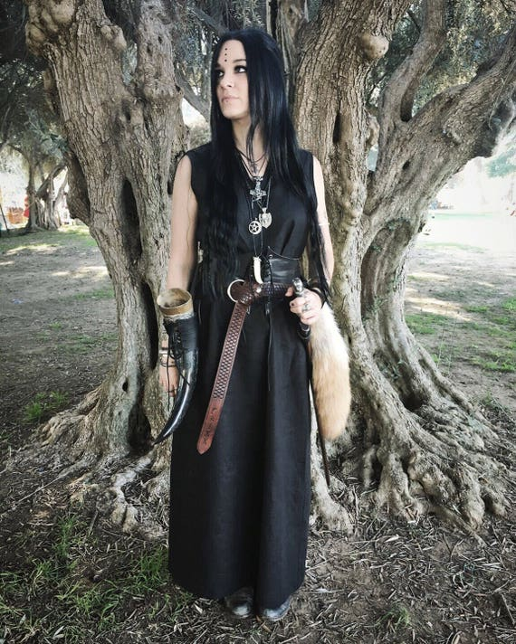 New! Linen Viking Sleeveless Dress, Garb, Serk, Norse, SCA, HEMA, LARP Comic Con Knotwork Trim Celtic Slavic Renaissance, Reenactment