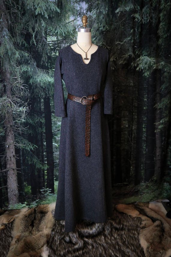 New! Wool Viking Dress Wide Side Panels, Garb, Serk Norse, SCA, LARP Comic Con Knotwork Trim Celtic Slavic Renaissance, Reenactment Midgaarb
