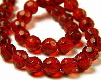 13-1/2 Inch Strand - 7mm Red Faceted Glass Beads - Glass Beads - Jewelry Supplies