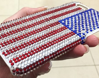American USA Red Blue Clear Flag Crystallized Bling Case Swarovski Crystals Handmade Rhinestones Bedazzled Jewelled Gem Galaxy S6 Cover