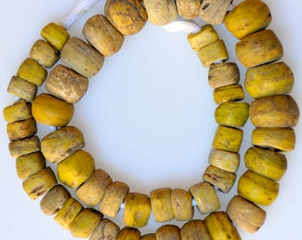 24 Inch Strand of Antique Yellow Hebron Beads - African Trade Beads