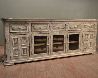 Rustic Solid Reclaimed wood TV stand Media Console / Sideboard Cabnet / Entry Way Console