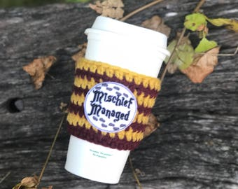 Mischief Managed Coffee Cozy- Wizard Coffee Cozy- Magic Coffee Cozy - Harry Potter Coffee - Harry Potter Cup Cozy - Marauder's Map