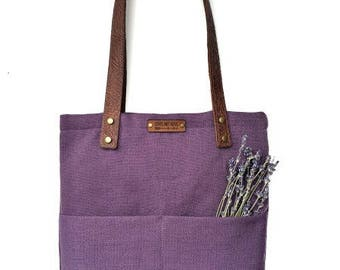 Tote Bag with Embossed Leather Handles - Royal Purple