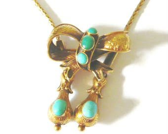 VICTORIAN 15ct Gold Turquoise Bow Necklace | Victorian Necklace | Victorian Bow | Gold Bow Necklace | Vintage Necklace