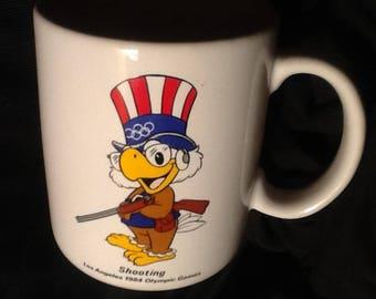 1984 Los Angeles Olympic Shooting Sam the Eagle White Ceramic Coffee Tea Mug Cup