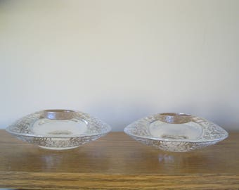 2 Orrefors Sweden Crystal Glass Votive Discus Candle Holder MCM Mid Century modern  Scandinavian SILars Hellsten GNED