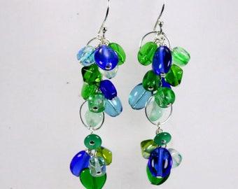 Ocean Wave-Czech Aqua Blue Green Cluster Sterling Silver Earrings