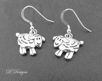 Sheep Earrings,  Silver Sheep Earrings, Sheep Gifts, Sheep Jewelry, Charm Earrings, Novelty Earrings, Funky Earrings, Gifts for Her,