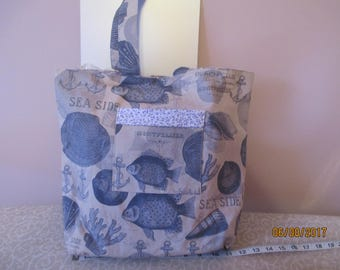 Beach Theme Tote Bag with Pockets and Magnetic Snap