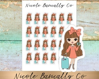 Jade Dolls- Travel- Luggage- Suitcase- Character Planner Stickers