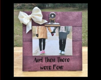 And Then there were Four - Pregnancy Announcement Frame  picture clip. We're expecting pregnant ultrasound Frame - Surprise family gift