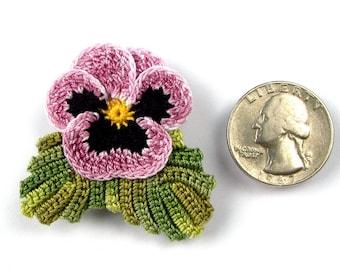 Crochet Flower Pin Irish Crochet Pansy Pin Lapel Pin Scarf Pin Hat Pin Women's Accessory Mother's Day Gift Fiber Art Flower Brooch Purple