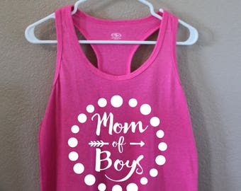 Mom of Boys pink racerback tank top/ Size M (-10)
