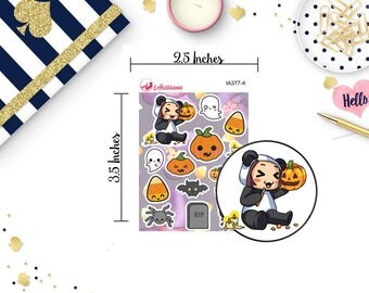 Halloween Stickers - MeiMei Holiday Stickers - Kawaii Halloween Stickers - Halloween Stickers - Happy Planner - Life Planner