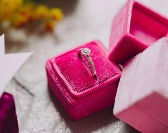 Ring Box - Velvet Ring Box - Vintage Style - Proposal Ring Box - Engagement ring box - Wedding - Personalized Gift - Raspberry Pink