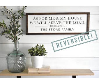 As For Me and My House We Will Serve the Lord Sign | Joshua 24:15 Sign | Bless our Home Sign | Scripture Sign | Two-Sided Reversible Sign