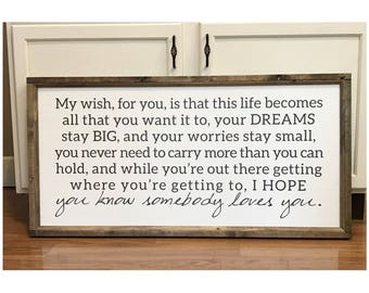 My Wish For You 20 inch x 40 inch Wood Framed Sign, Canvas Sign, Office Decor