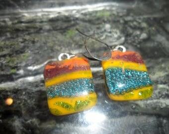 Fused Glass Yellow Orange Blue Ear rings