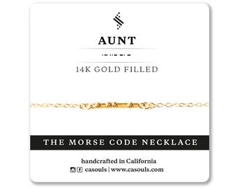 AUNT Morse Code Bracelet or Necklace Morse Code Jewelry | Great gift for your Aunt, Aunt Jewelry, Aunt Necklace, Aunt Bracelet