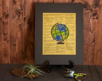 Globe Print, Earth Print, Watercolor Print, Dictionary Print
