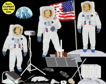 Apollo 11 Clipart Set with Neil Armstrong and Buzz Aldrin and Tim Collins