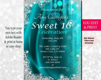 Sweet Sixteen Invitation, Sweet Sixteen Party Invitation, Sweet 16 Invitation, Sweet 16 Birthday Invitation, Sweet 16 Party, You Edit PDF