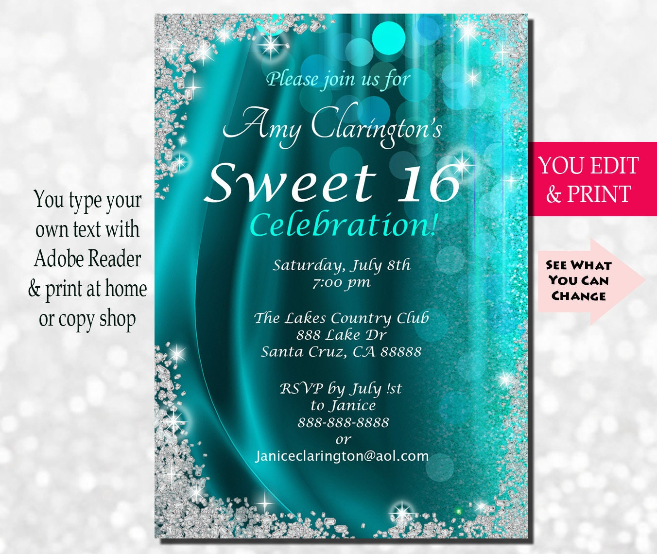 It is an image of Eloquent Sweet 16 Birthday Invitations Free Printable