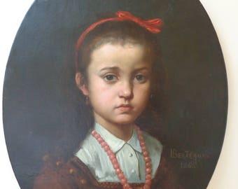 Antique oil painting portrait 19th century