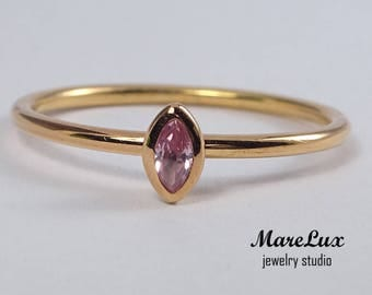 14K Rose Gold Plated Silver Marquise Pink Diamond Ring, Stacking Pink Cubic Zirconia Promise Ring, Pink Diamond CZ Marquise Stackable Ring