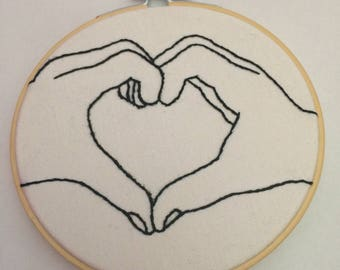 """5"""" Heart Hand embroidered hoop"""