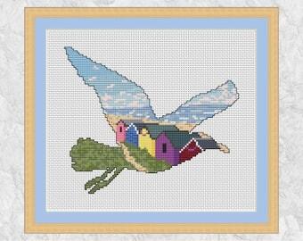Beach cross stitch pattern, modern seagull bird counted cross stitch chart, ocean, beach huts, gull, dunes, summer holidays, relaxation PDF
