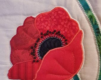 Poppies table runner or wall hanging.  Quilted and applique table runner.