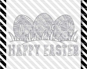 Easter Coloring Book svg - Happy Easter svg - Coloring Book Eggs dxf - Happy Easter dxf - Easter Coloring Page svg - Easter Cut File - Eggs