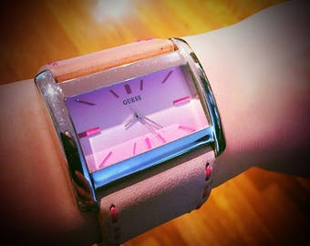 Big Pink Leather GUESS Watch