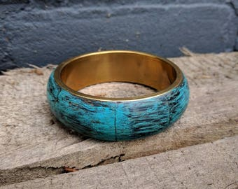 VINTAGE Brass bangle bracelet with wooden exterior, upcycled with patina blue paint.
