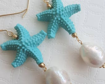 White Baroque pearl earrings and turquoise starfish, silver pendant earrings