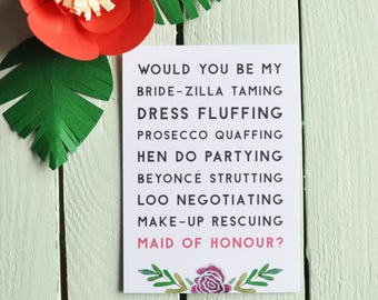 Will You Be My Maid Of Honour? Postcard - Bride-Zilla. Funny Bridesmaid Card - Maid Of Honour Proposal Card - Quirky
