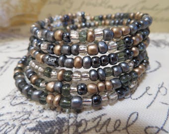 Multi-metal colored memory wire bracelet.