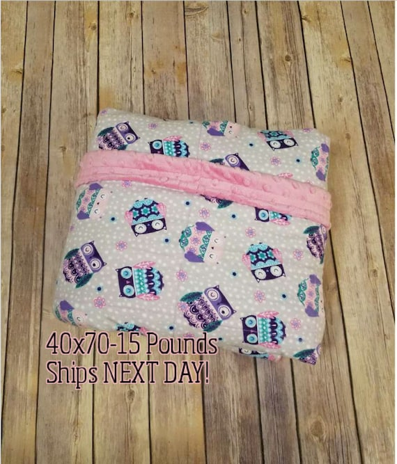 Weighted Blanket, 15 Pound, Owl, Pink Minky, 40x70, READY TO SHIP, Twin Size, Adult Weighted Blanket, Next Business Day To Ship