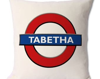 Personalised London Underground Cushion. Zipped cover and cushion included