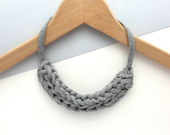 Grey necklace - Chunky Grey necklace - T-shirt yarn necklace - Gift for her - Stocking filler necklace - knitted necklace - Grey jewellery