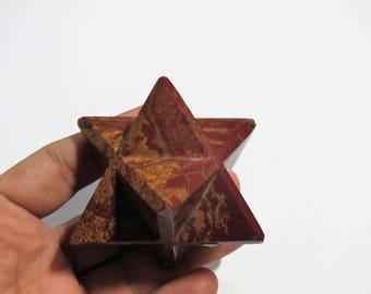 LARGE 45mm RED Jasper Stone Star Merkaba Gemstone Astroid Space protection Meteorite Universe Healing Crystals Reiki Love Handmade carved