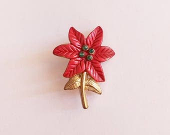 Poinsettia Brooch Pin Gold Tone Metal Red Enamel Paint Green Rhinestones Christmas Flower Holiday Festive Classic Traditional Vintage