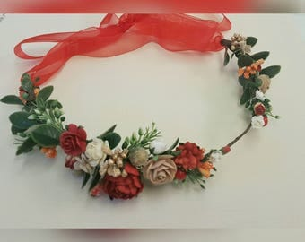 ADULT, CHILD, BABY - Red Flower Crown. Christmas headband. Red headpiece. Wine flower crown.Wedding accessuary