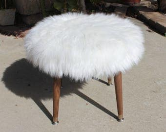 Mid century Modern bench/Foot Stool/Ottoman White Faux Fur