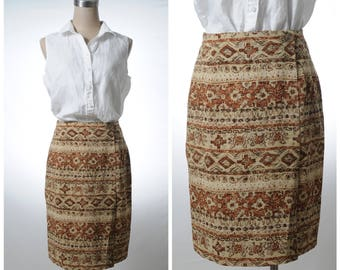 Vintage ancient wall drawing printed wrap-front pencil skirt